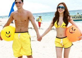 Желтые пляжные шорты